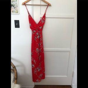 Floral patterned red dress